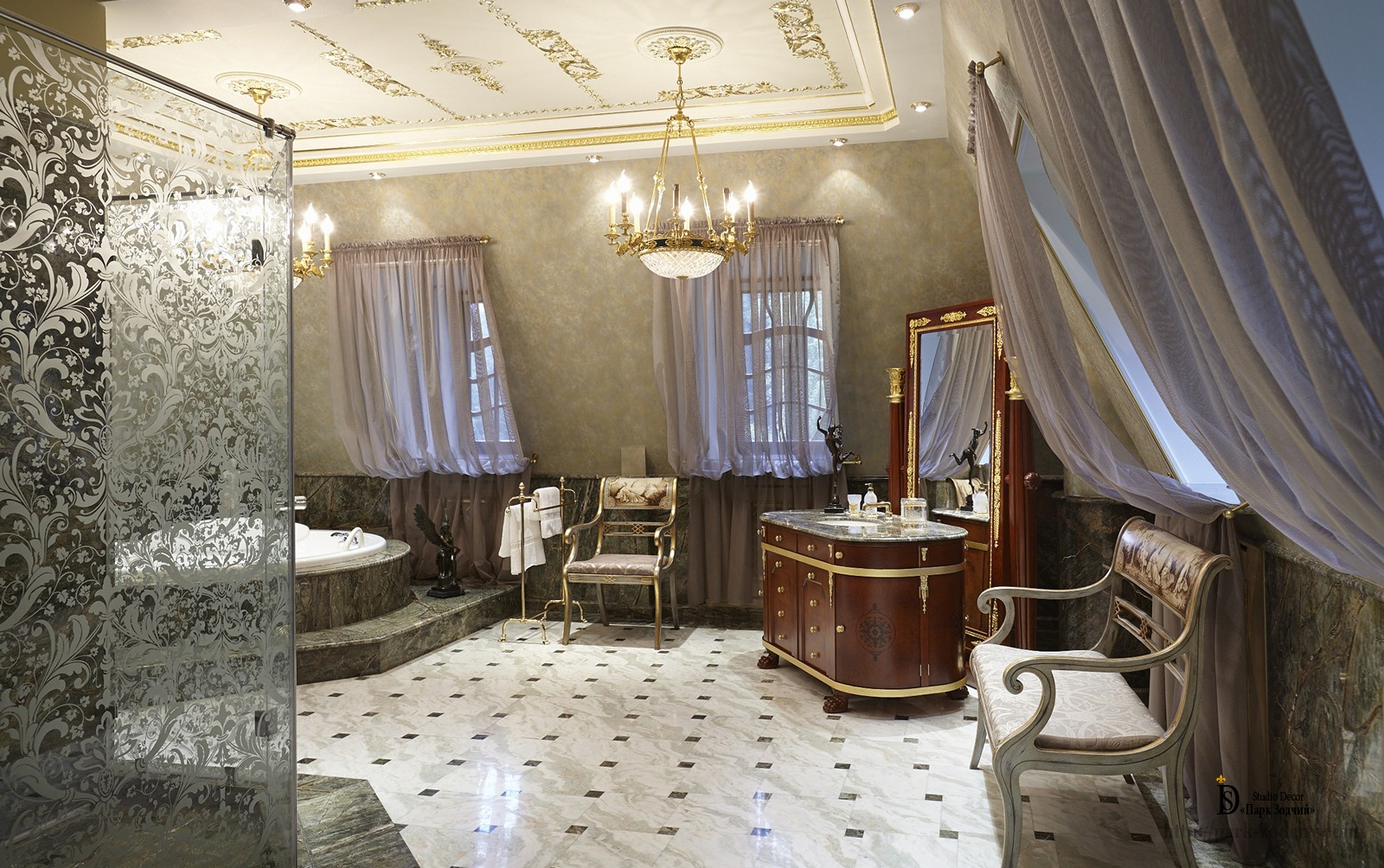 Luxury bathroom with gilded mouldings