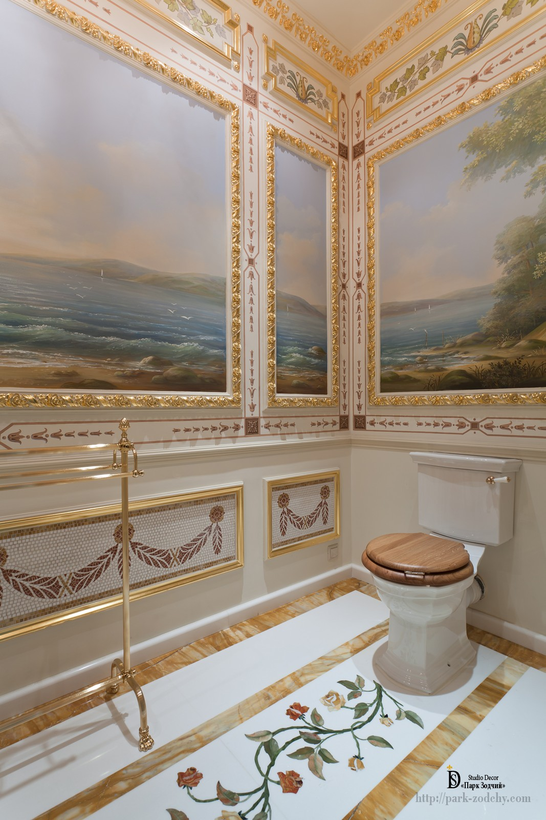 Bathroom with bidet, painted and gilded stucco