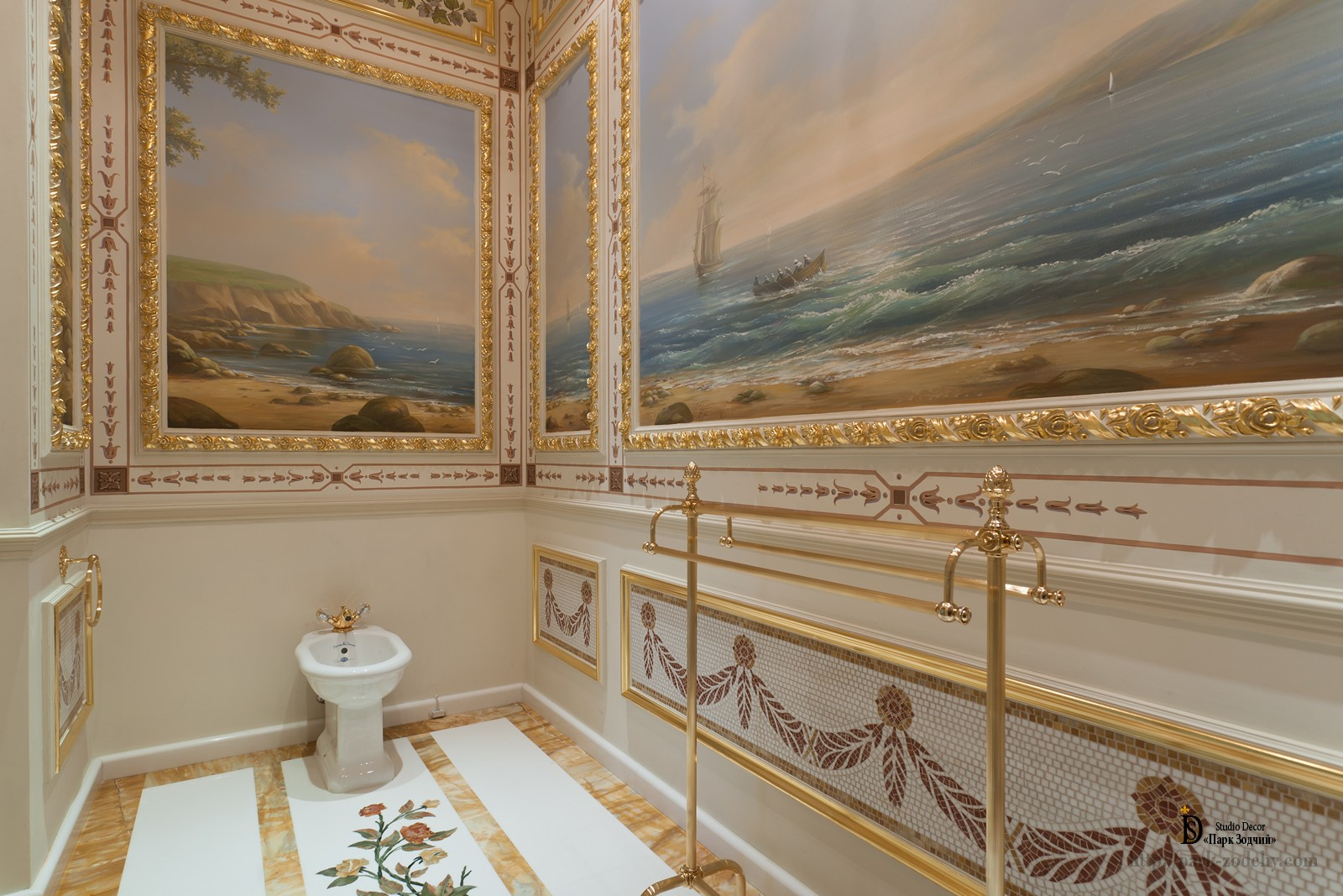 Bathroom with painting and gilding stucco