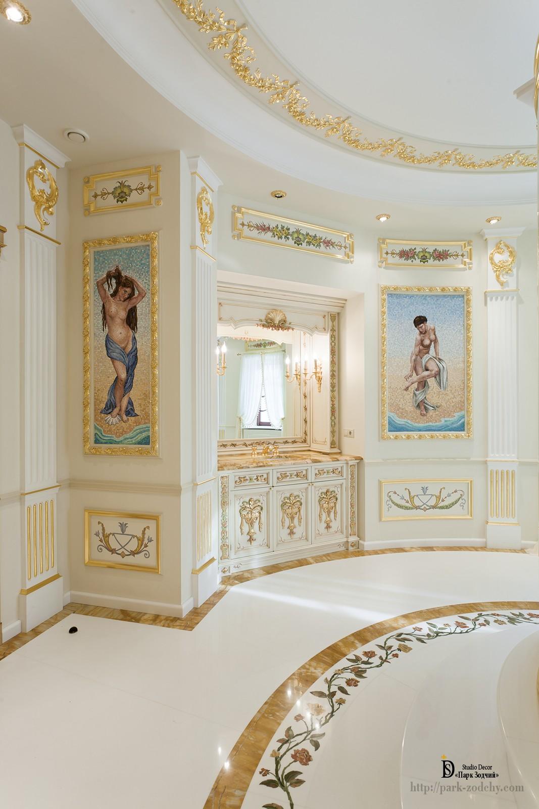 Большая ванная комната с эксклюзивным декором
