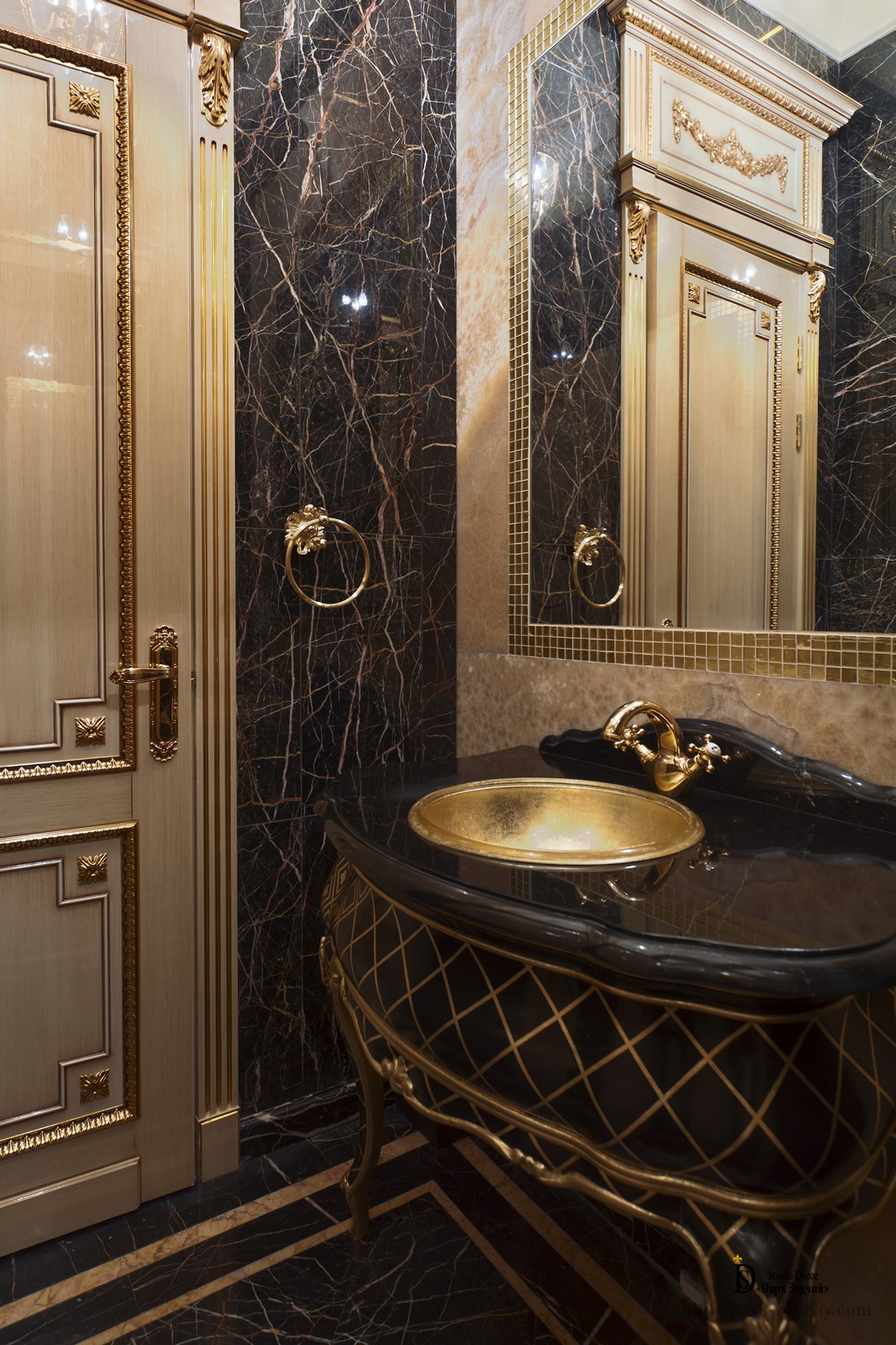 Expensive interior bathroom decorated with marble