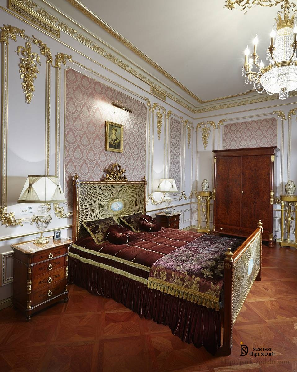 Bedroom in a neoclassical style in burgundy color