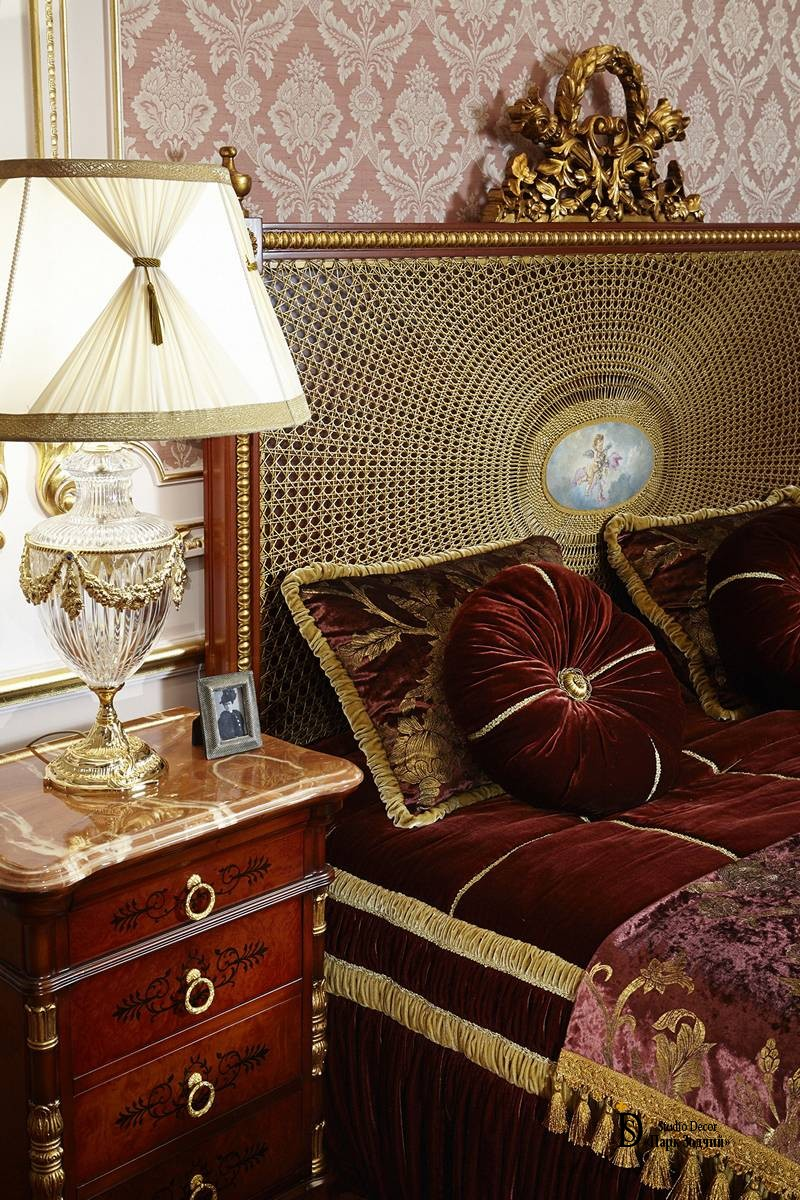 Handmade furniture with gilding and decorative details
