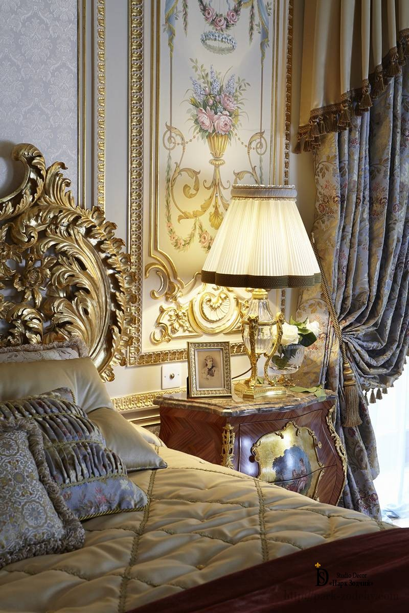 Painted bedroom in the Baroque style with gilding