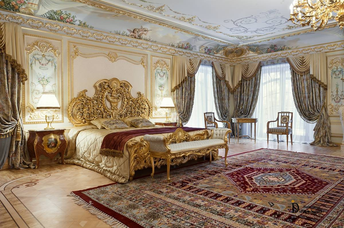 Bedroom in Baroque style with a large bed