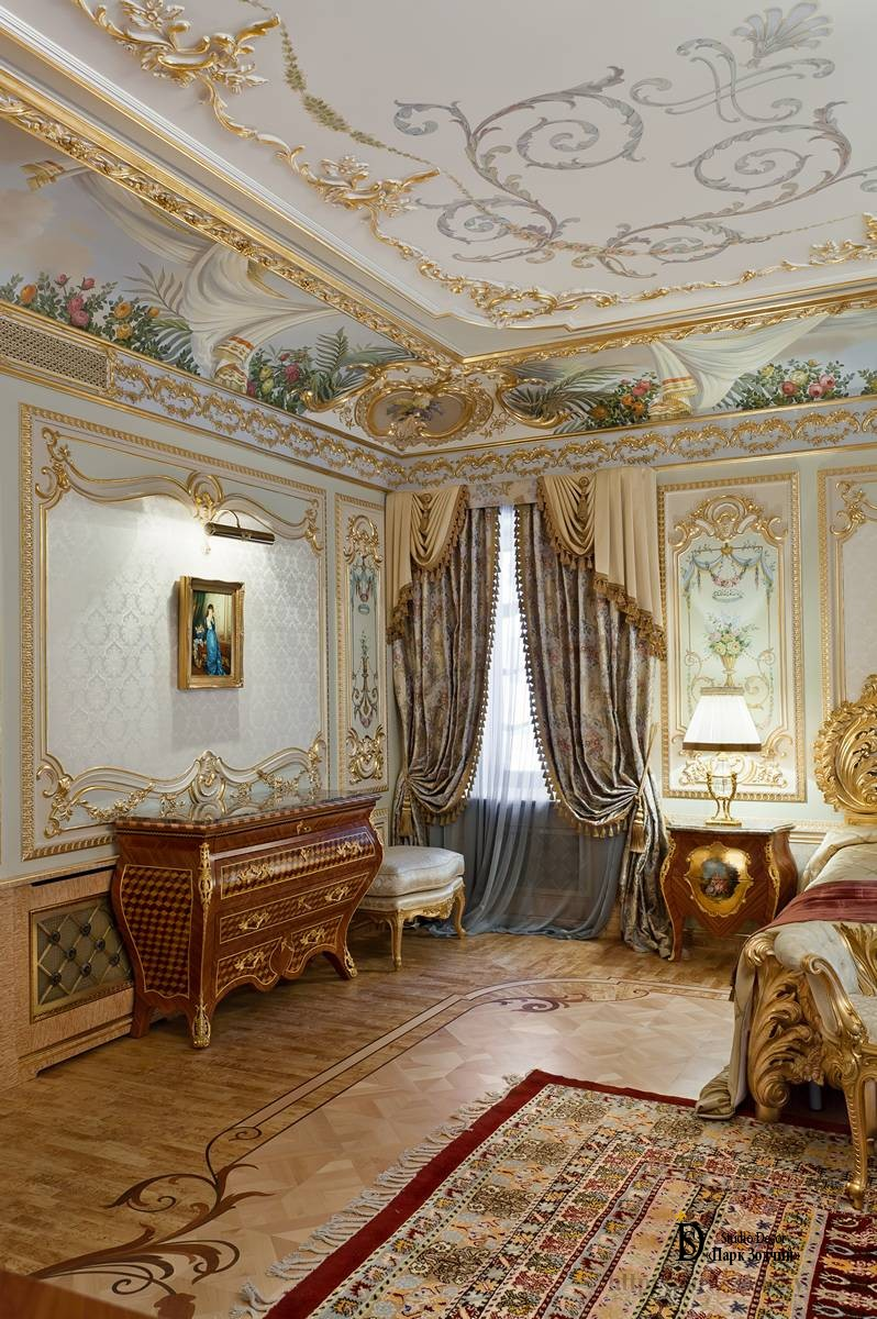 Painted bedroom in Baroque style