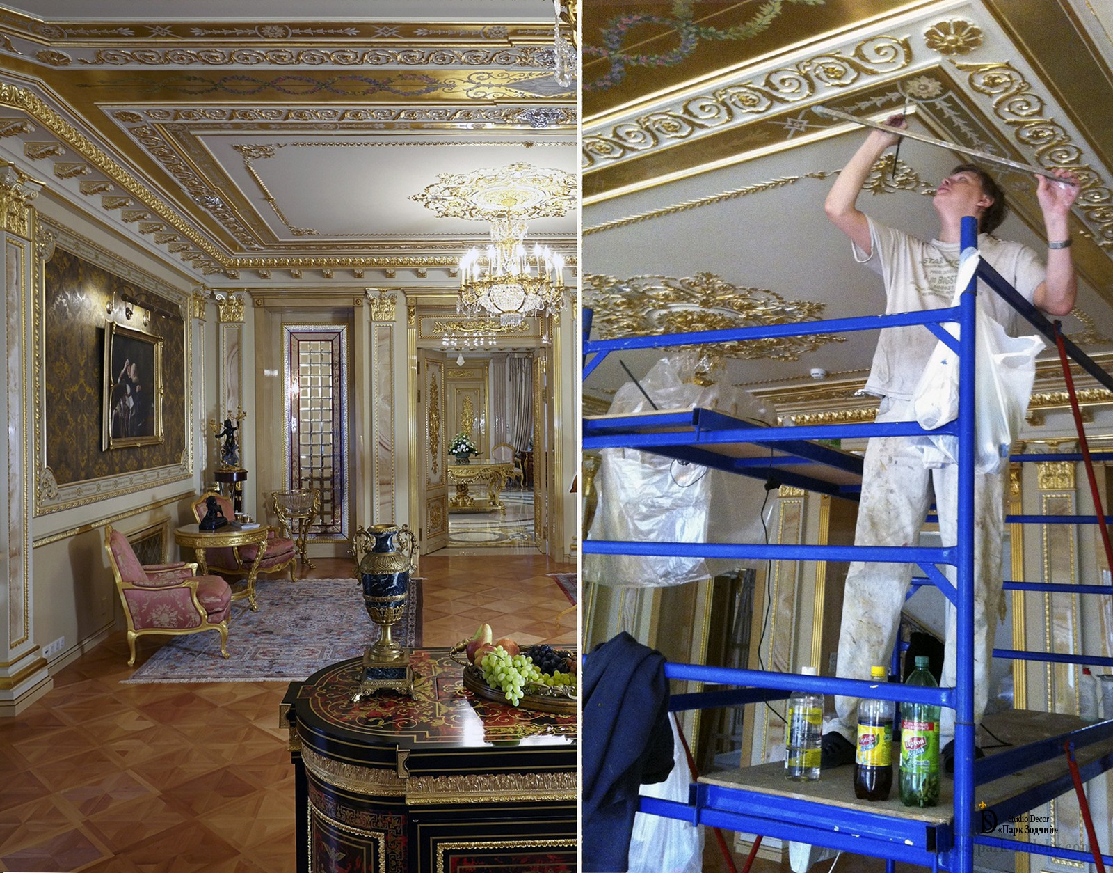 Ceiling painting on gold