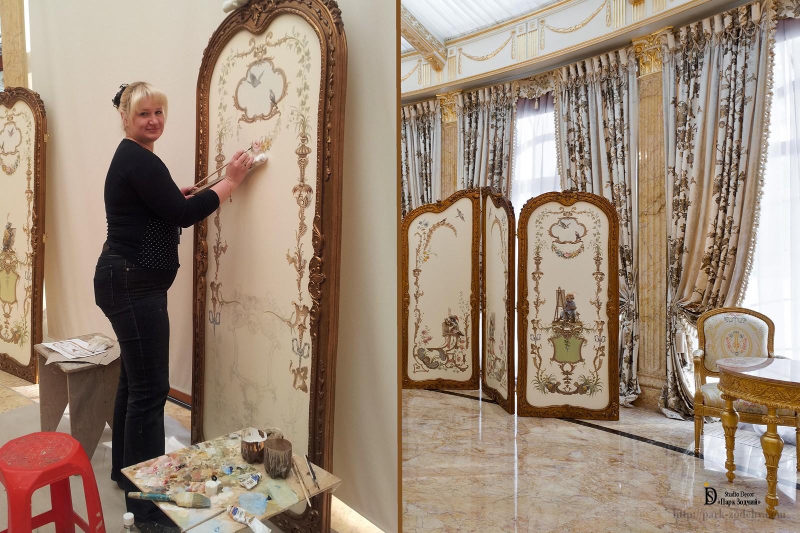 Роспись декоративной ширмы для гостиной