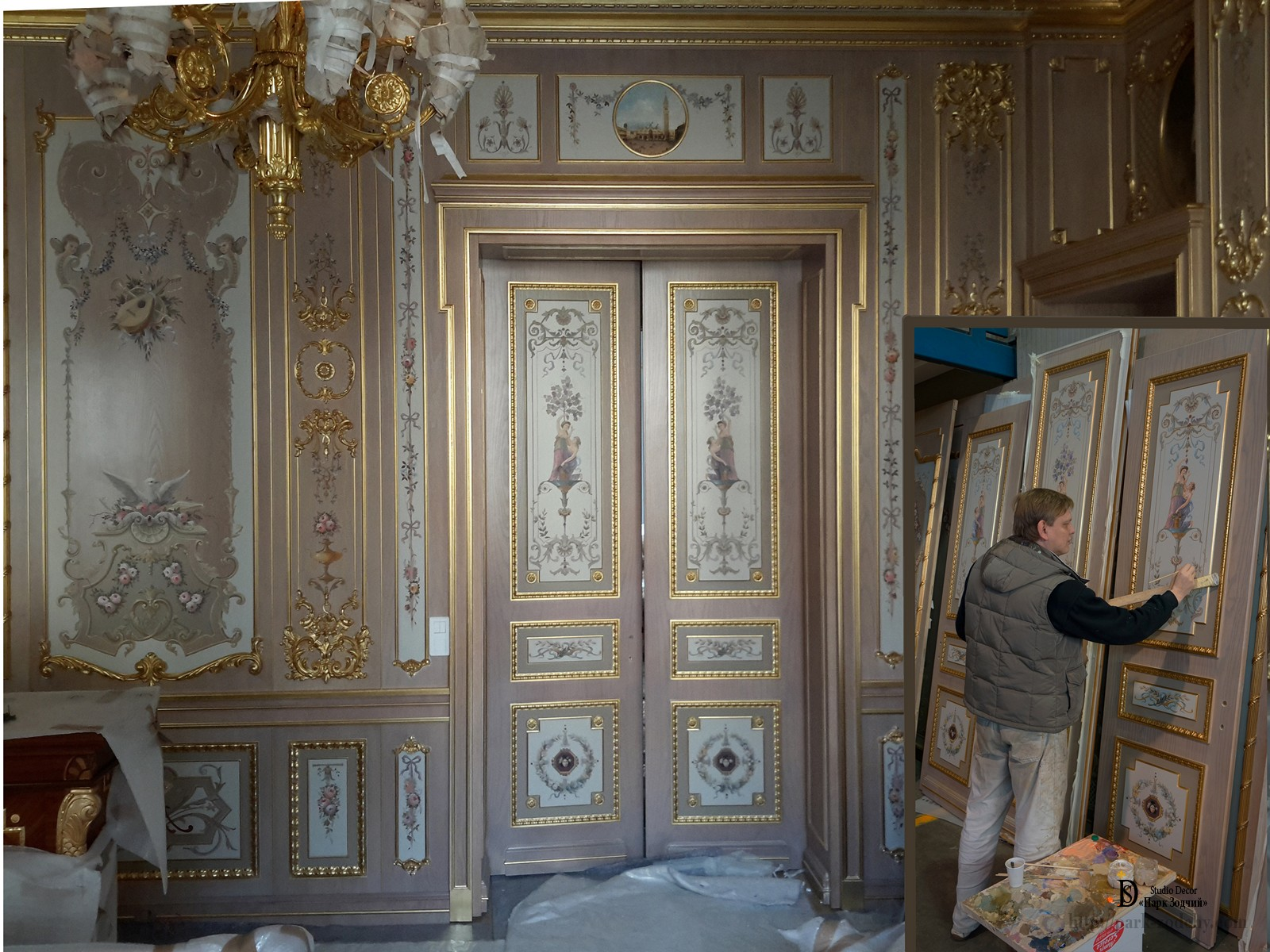 Preparation and decoration of boiserie in the office