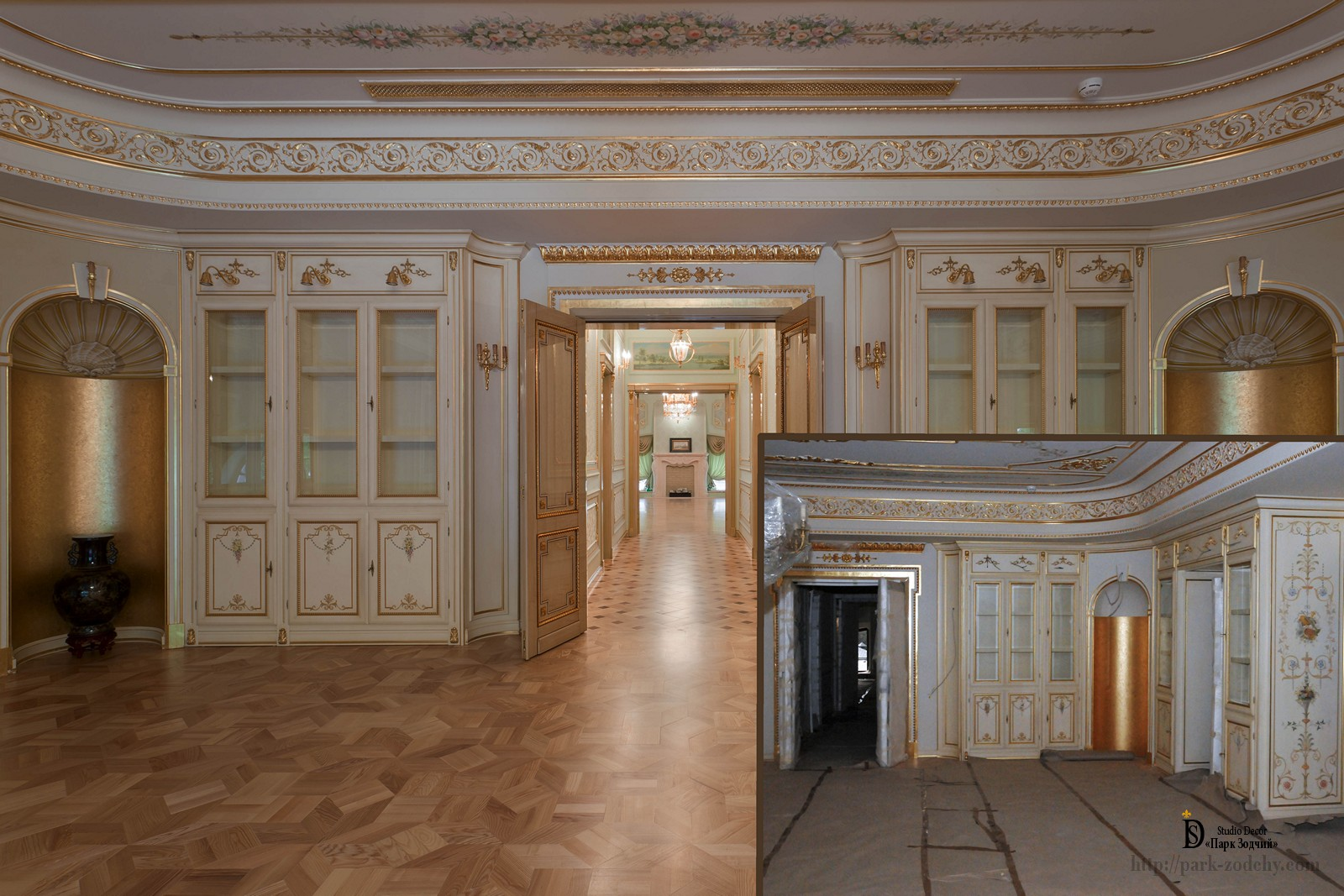 The decoration of the hall parquet