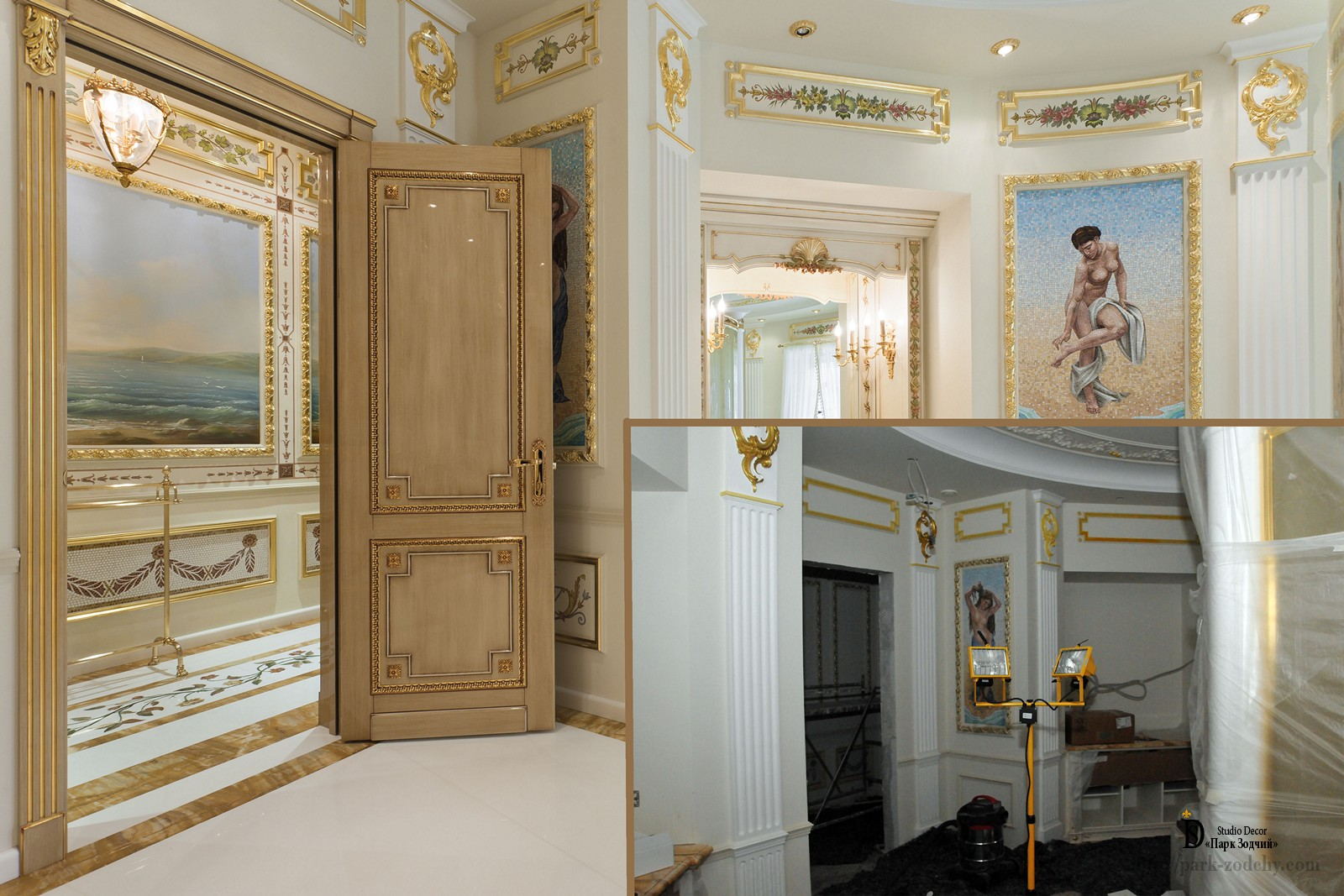 Gilding stucco and parquet in the interior