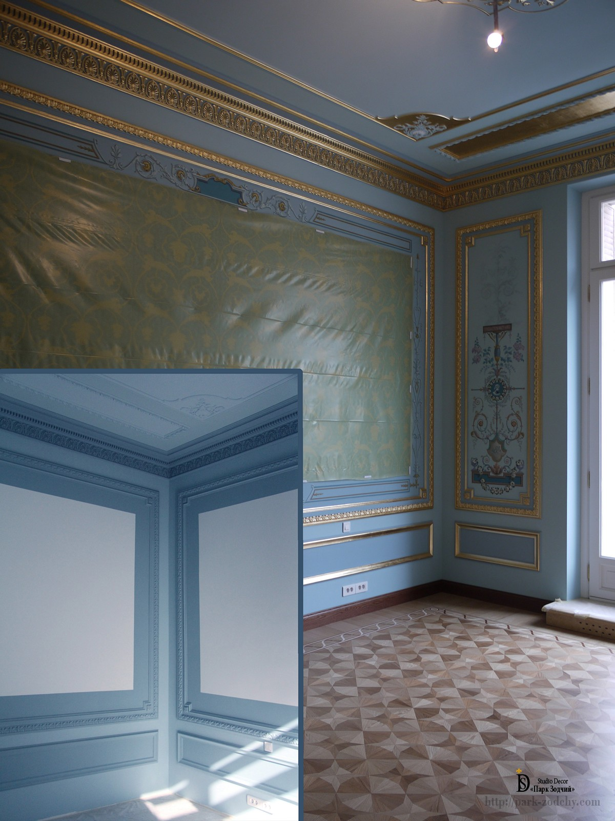 Stages of painting architectural mirrors in the interior