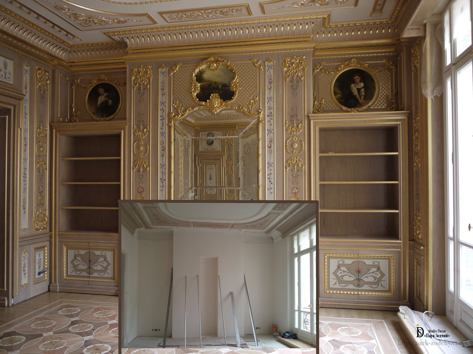 Interior decoration with stucco, painted