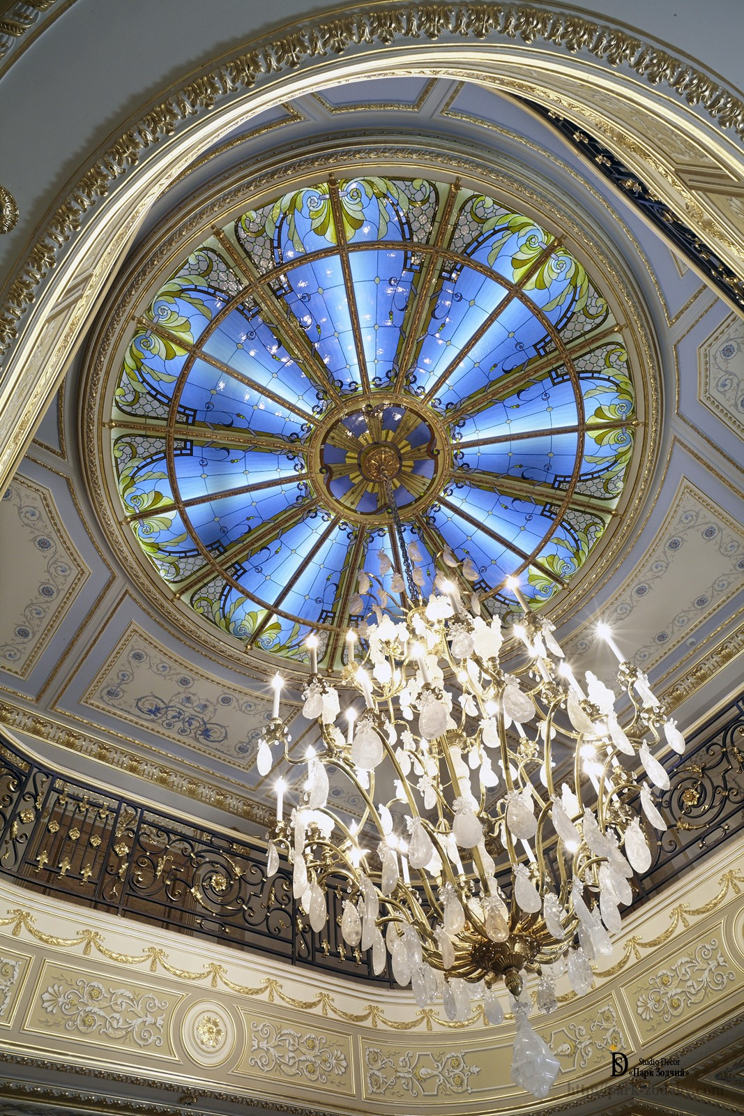 Stained glass ceiling in the residence