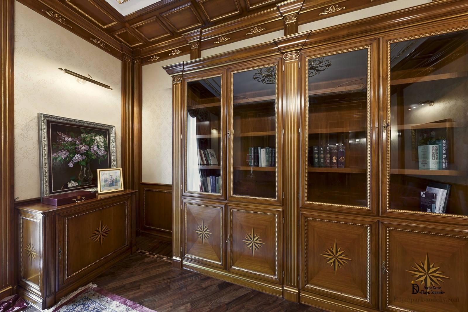 The interior of the Cabinet combines brown tones and red