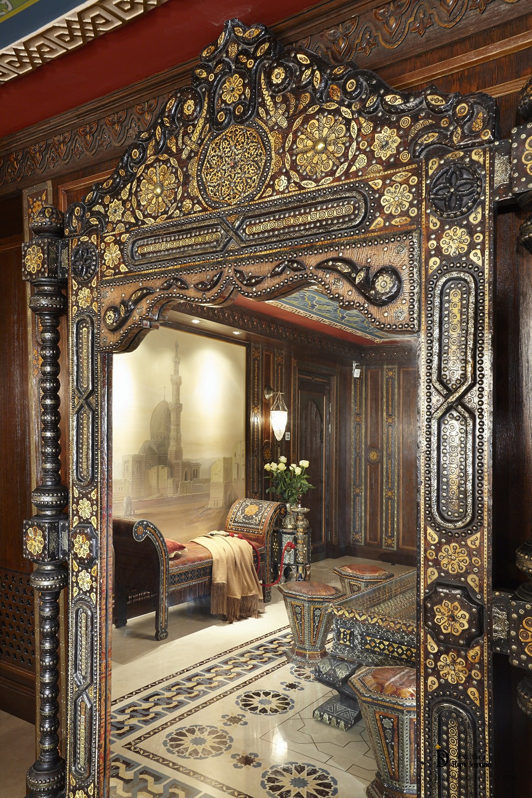 Mirror in a carved frame, delicately inlaid and gives the living room the palace grandeur of the Middle Ages