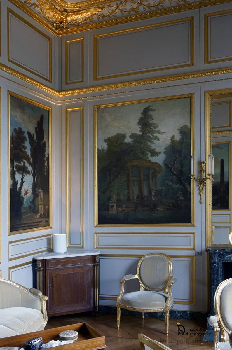 Wall painting in the French living room interior