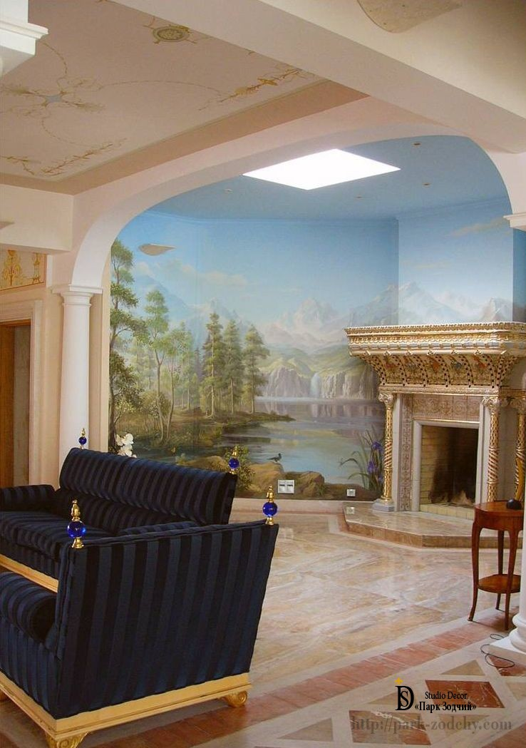 The interior living room with painted trompe l'oeil