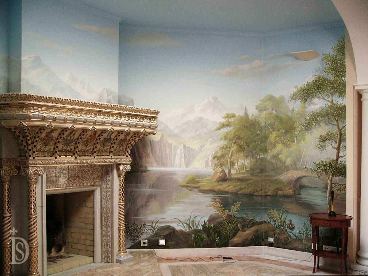 Fireplace with a majestic portal in the interior of the living room