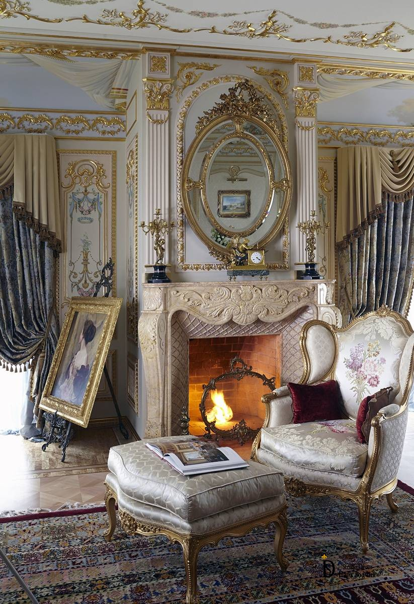 Fireplace in the interior of the Empire style