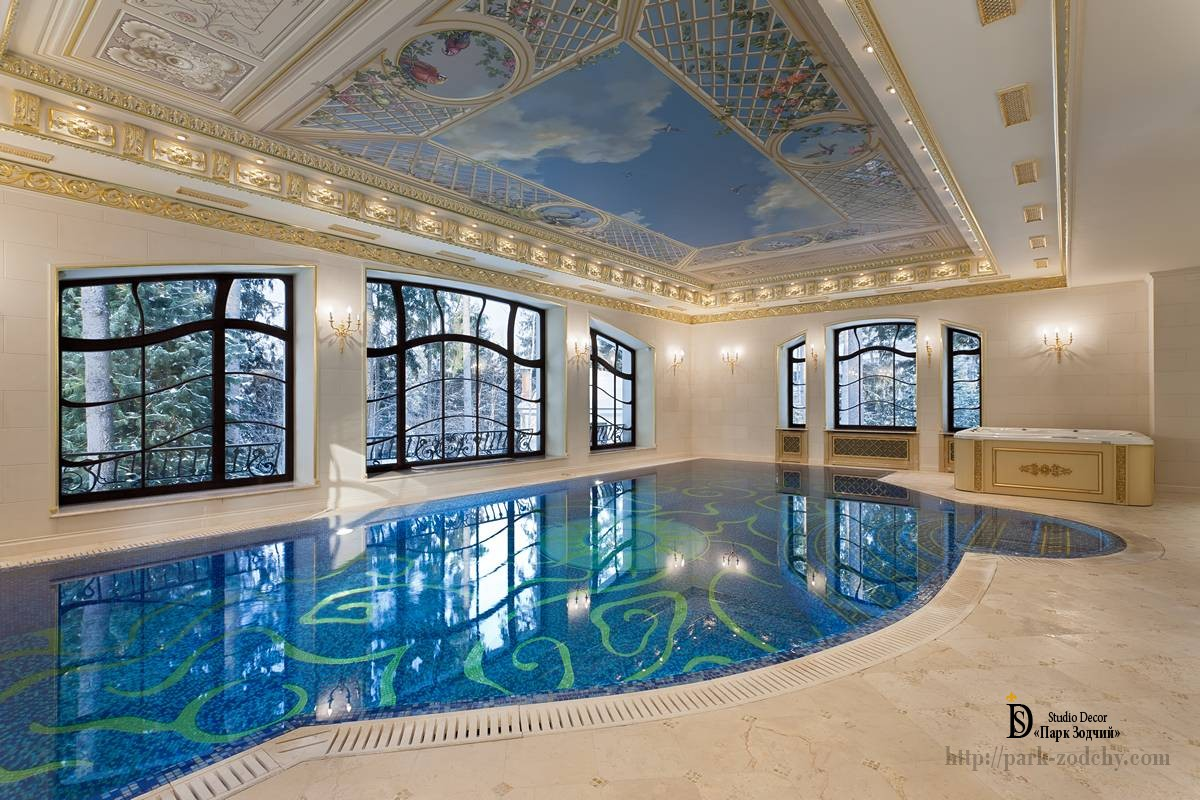 Swimming pool with baroque elements and gilding