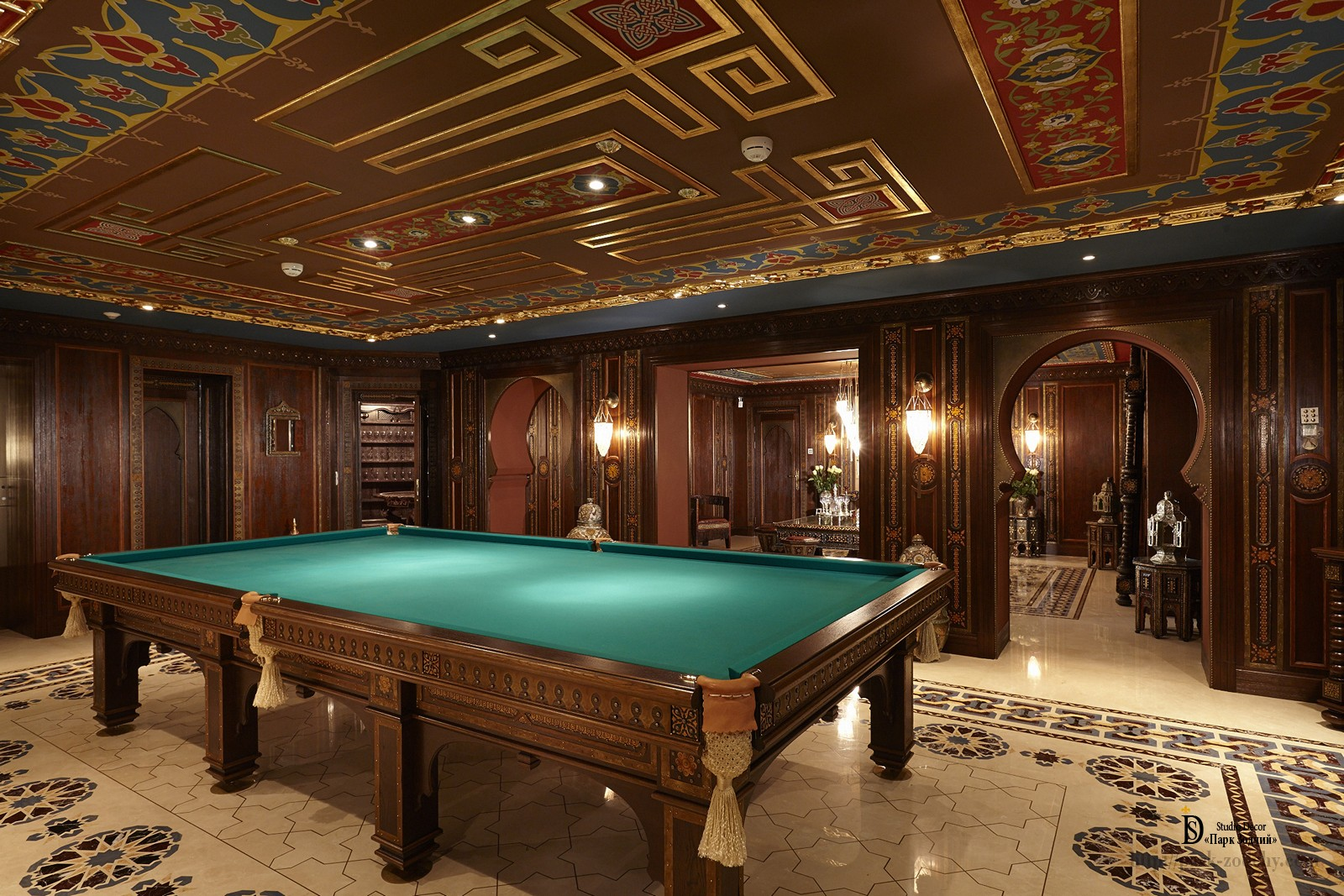 The billiard room decorated in a Moroccan style