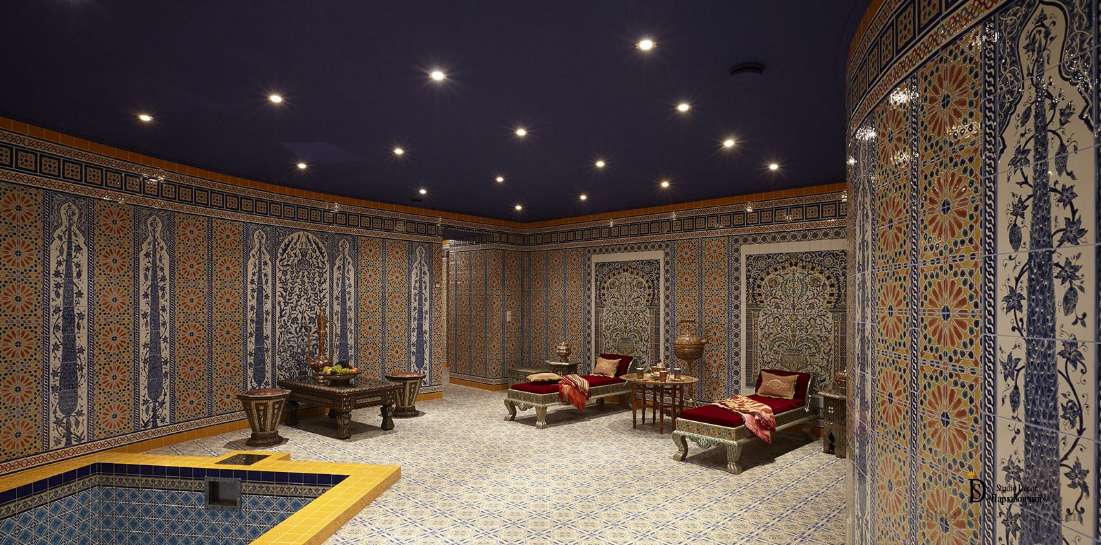 Richly decorated interior of the Hammam