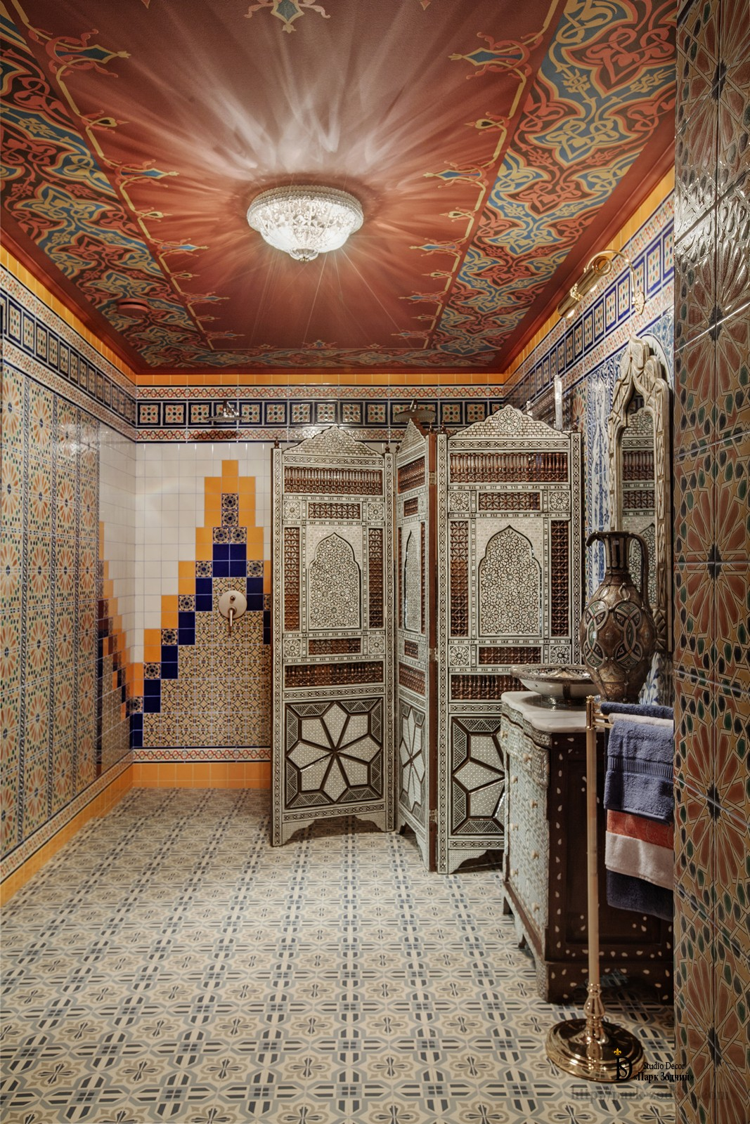 Hammam recreation area interior with ceiling painting