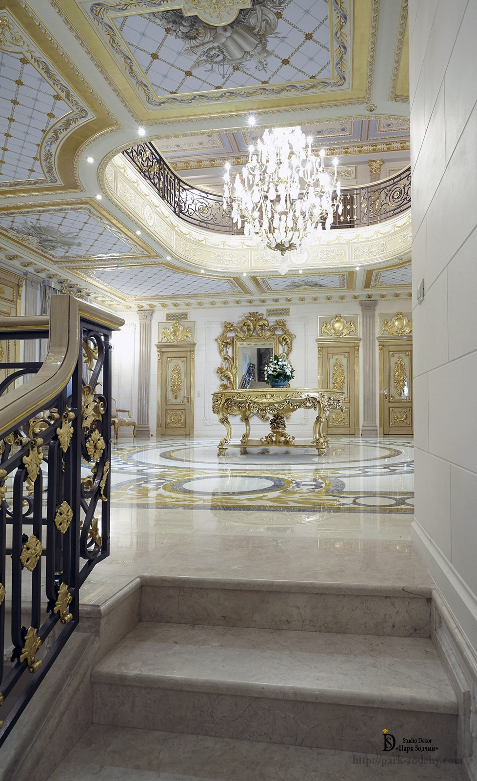 Empire style marble staircase with gilding and painting