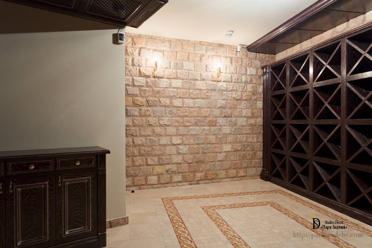 Wine cellar with shelves and exquisite design