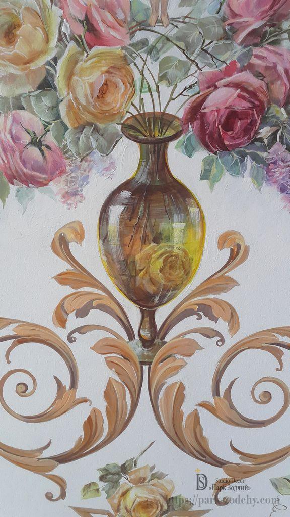 Фрагмент полихромной росписи