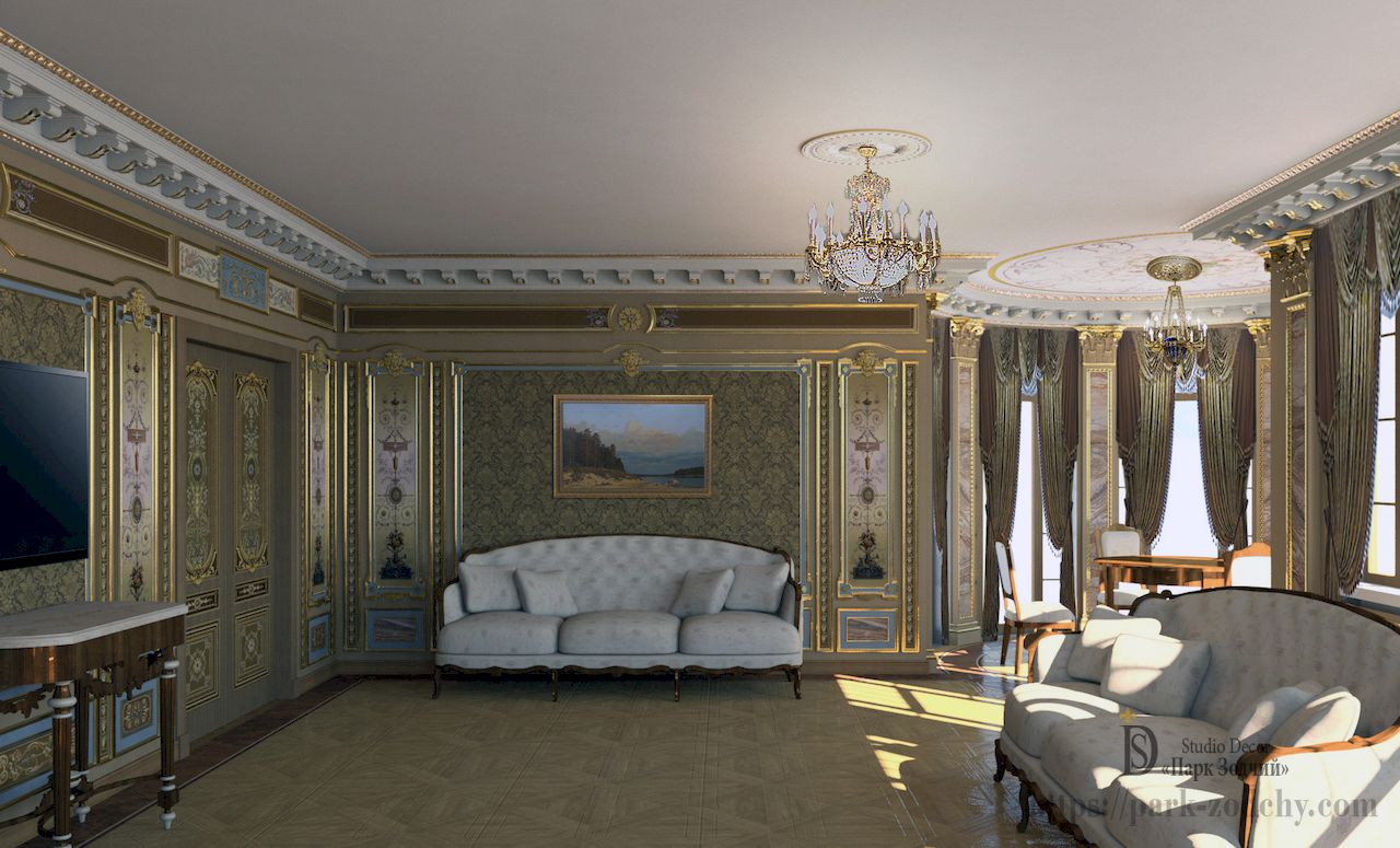 Interior design classic living room painted in gold, stucco walls and ceiling rosettes