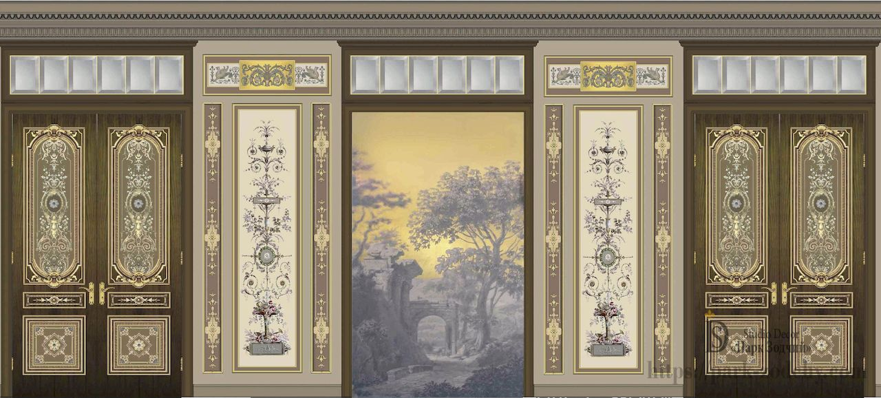 Scan the walls with almaney, illusory painting, gilding doors