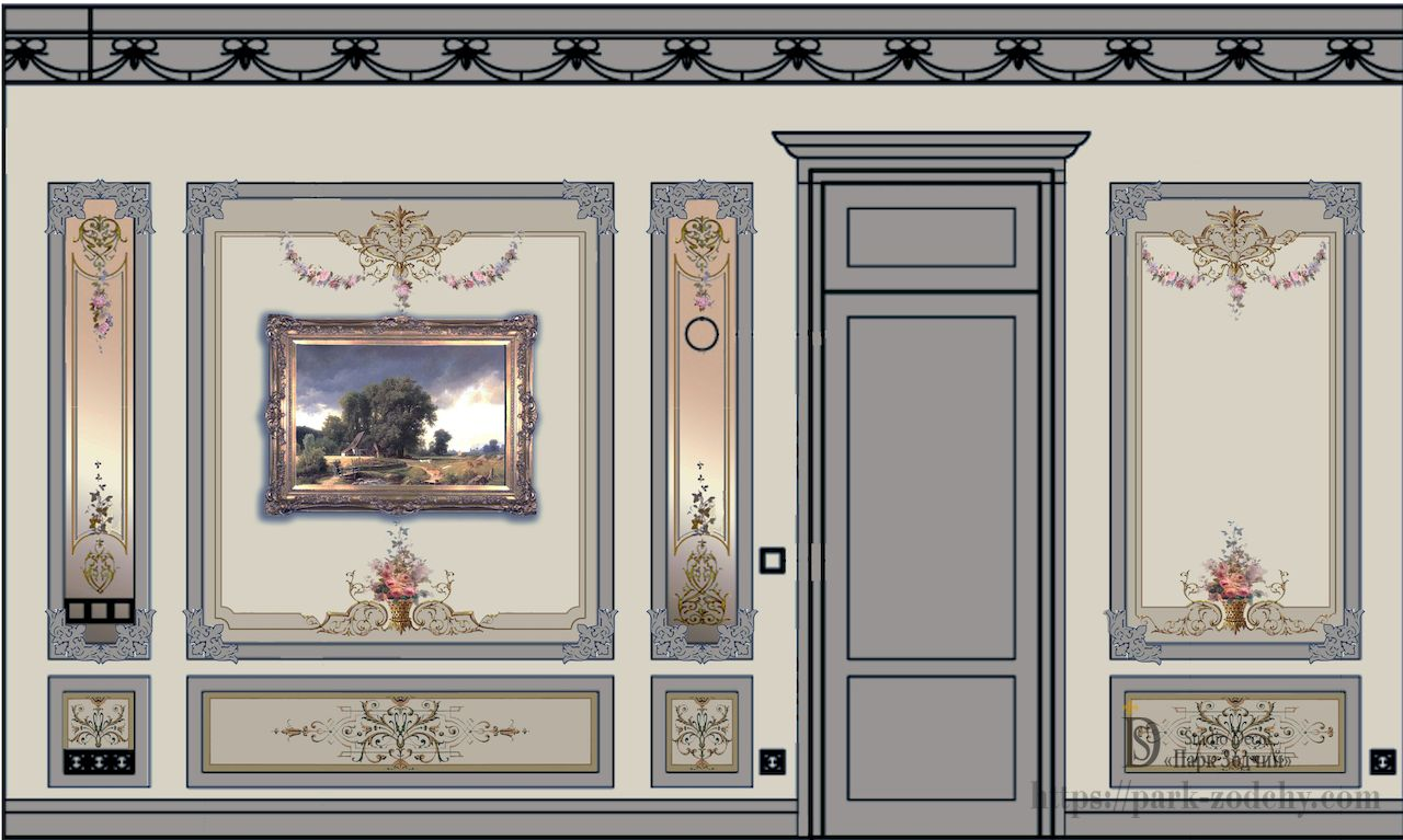 Excerpt from the project of a panoramic painting for decorating a room in the eclectic style