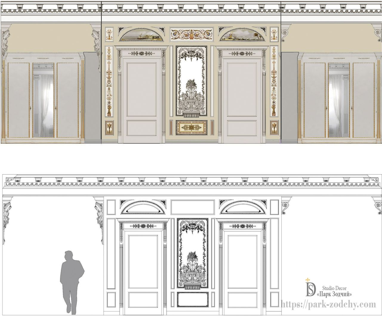 Project stages: sketch and visualization of alfrey painting in the interior