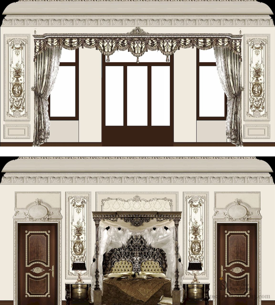 Interior design of a bedroom in the Baroque style with carved elements of a canopy