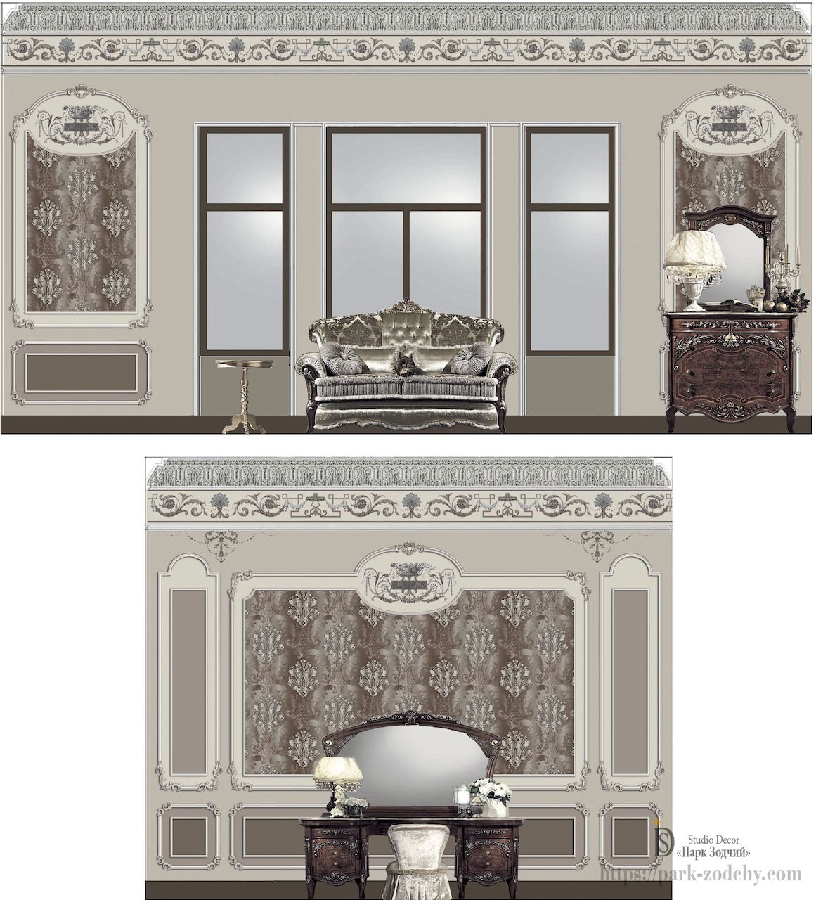 Unfold on the walls of a bedroom in the Baroque style with painting
