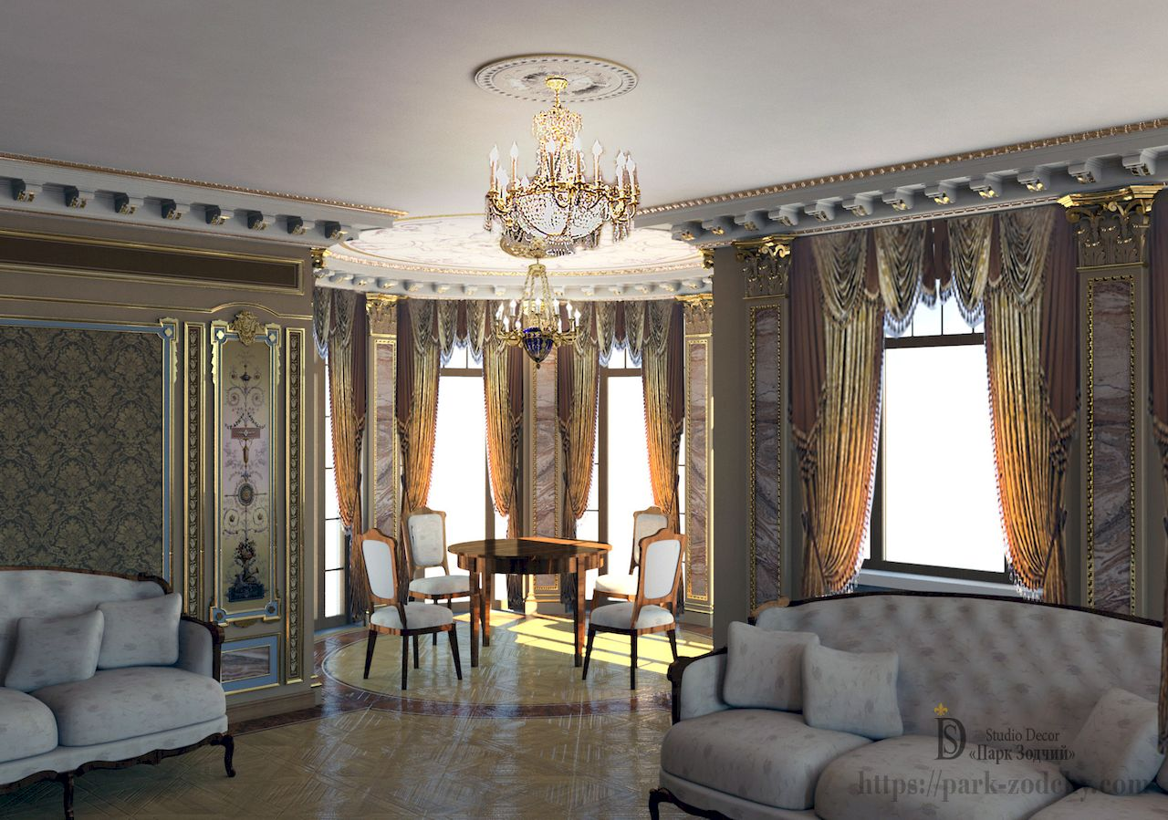 Home design with exclusive decor-status: painted, marble pilasters