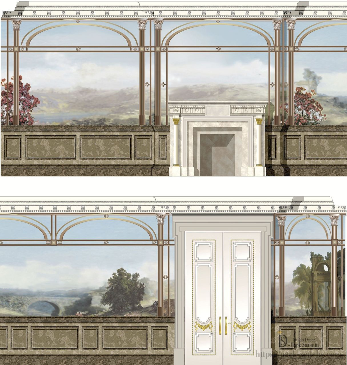 Draft versions of the murals trompe l'oeil to make the room seem bigger