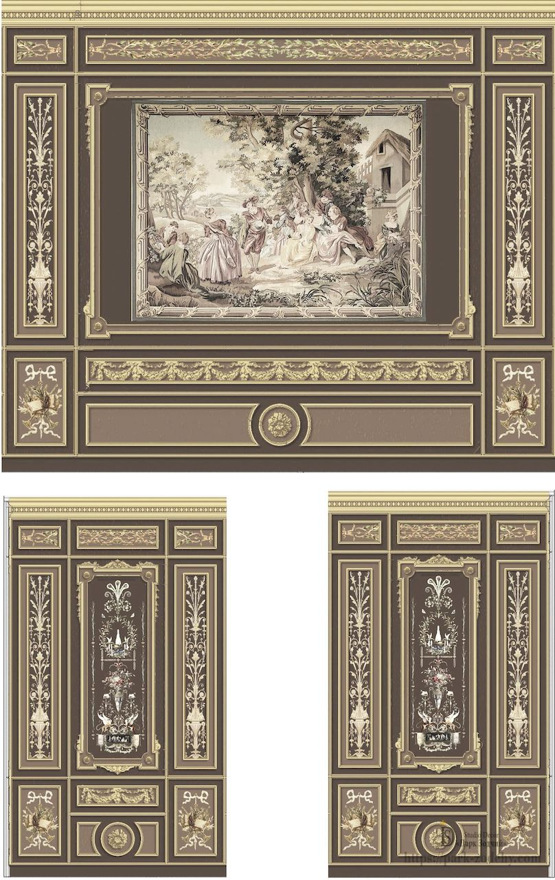 The finished wall painting project combines alfrey painting, French grotesque and fresco