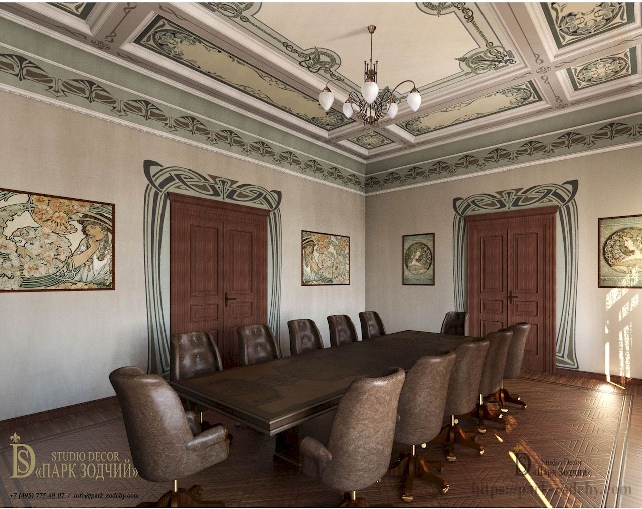Visualization of the cabinet project in the Art Nouveau style with painting of walls, ceilings, paintings