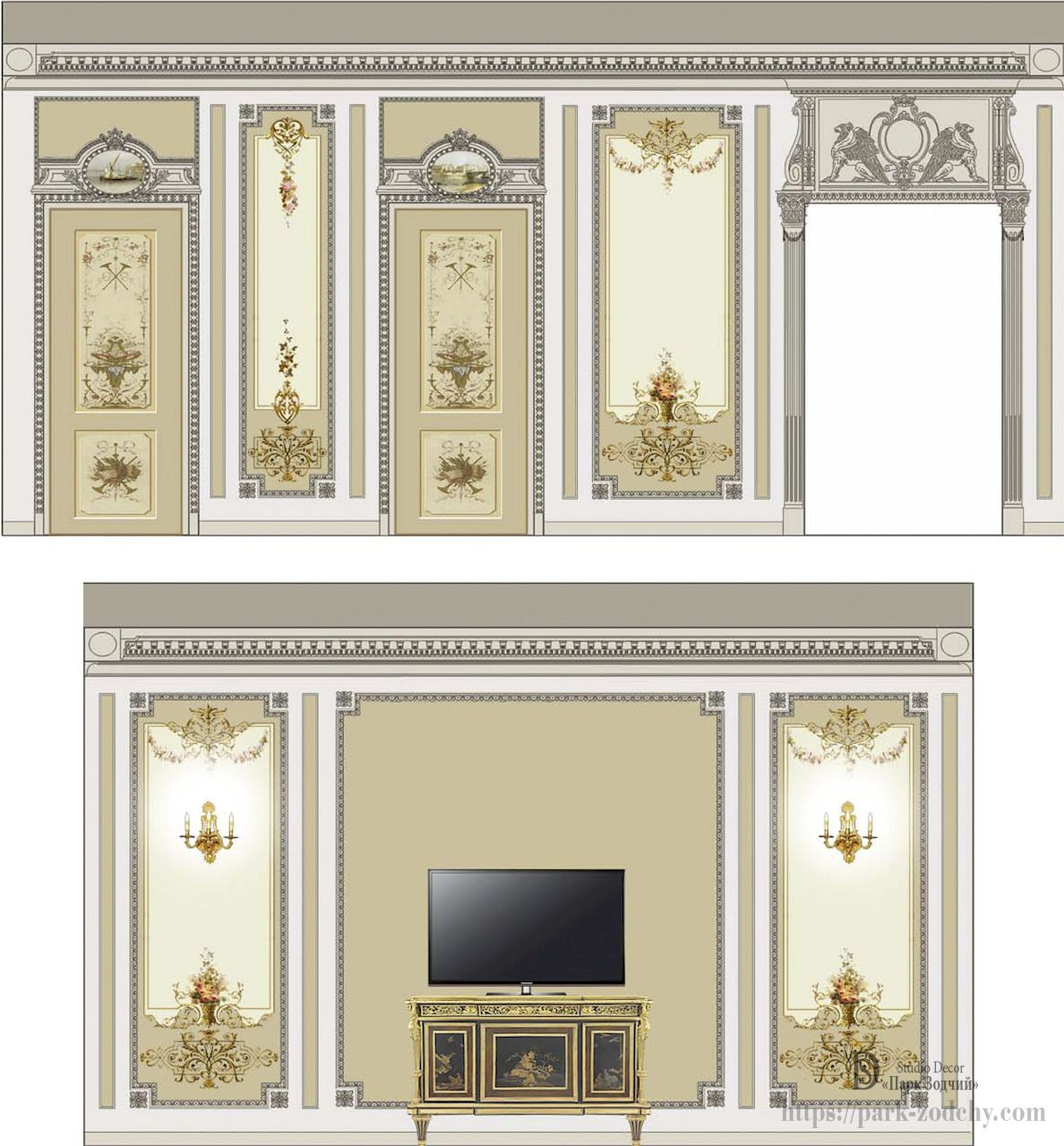 A snippet of the project: exquisite living room decorated with stucco, painted