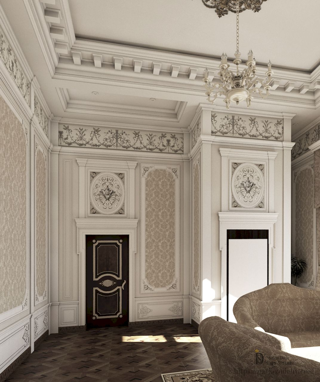 Implemented project of decorating a living room in Empire style