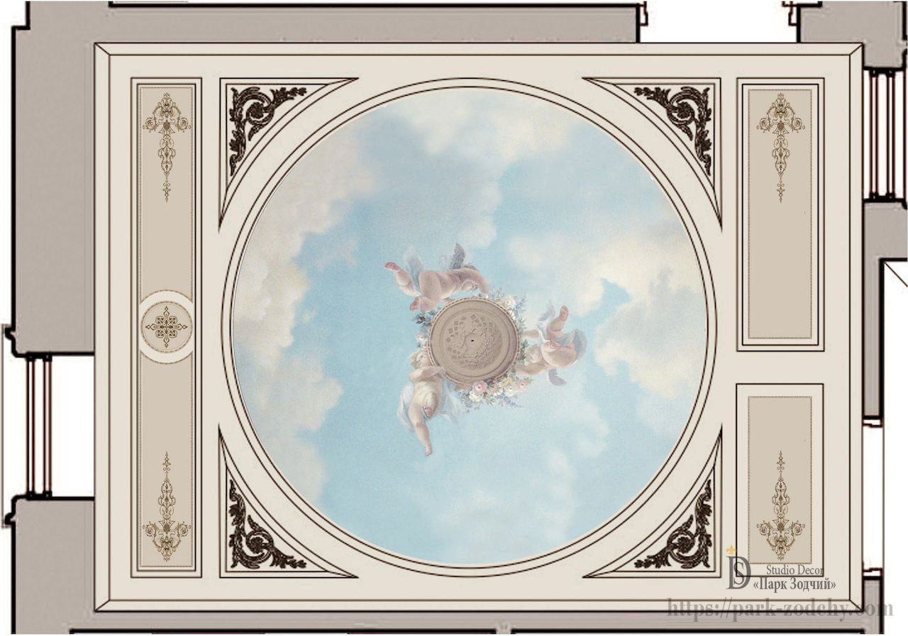 The project of painting the ceiling in Empire style