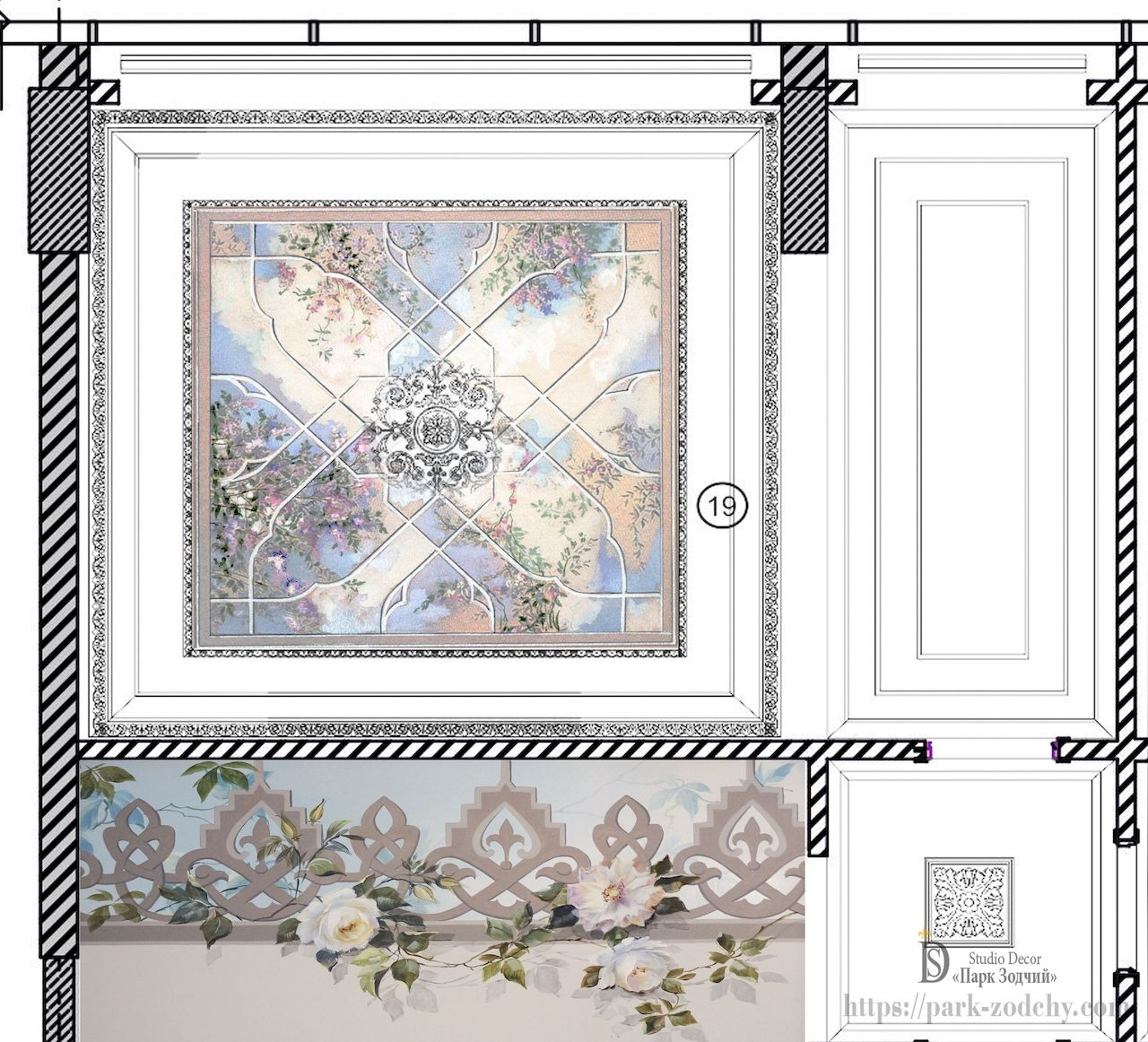 Empire style ceiling painting project