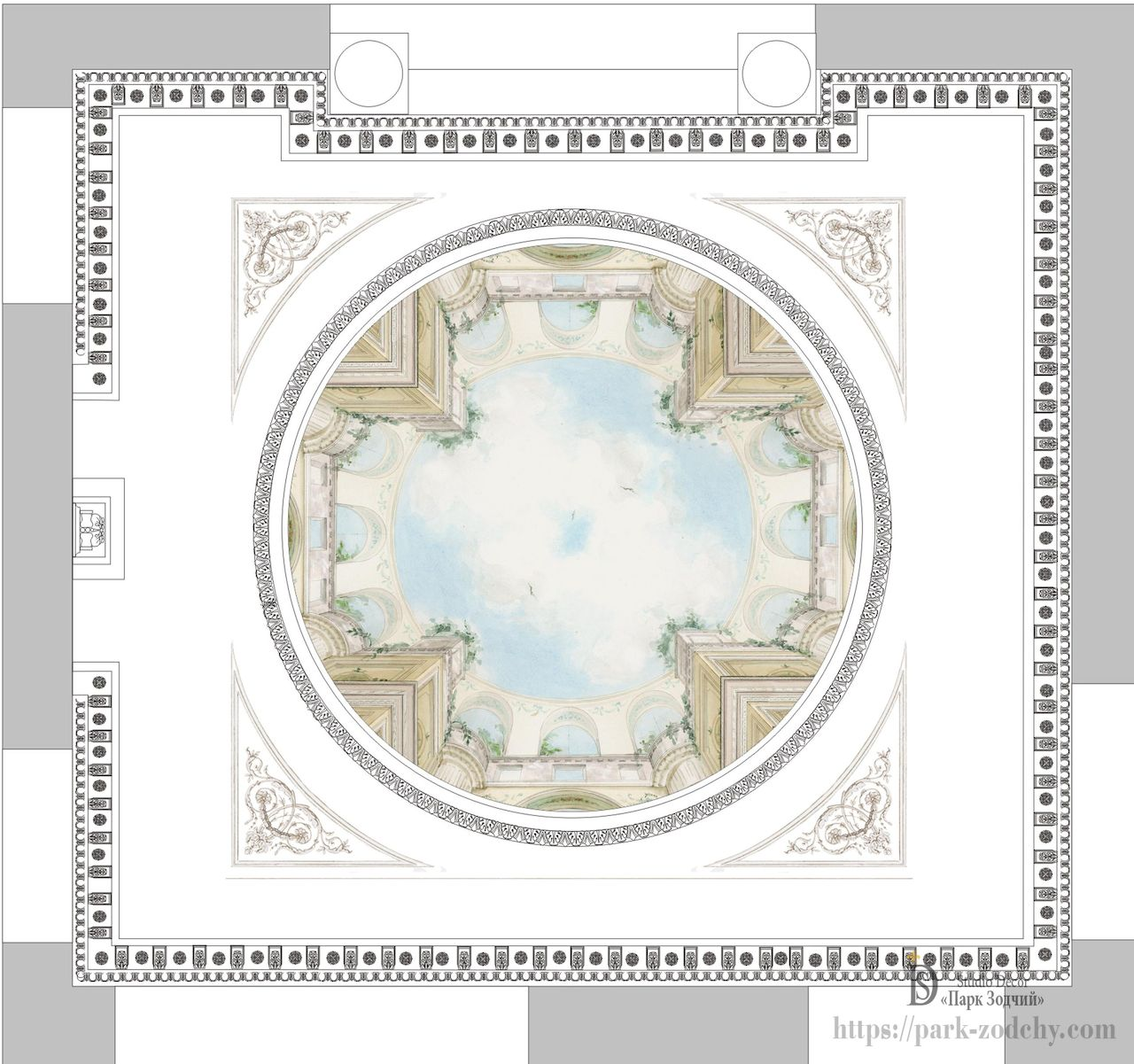 The project of molding and painting the ceiling