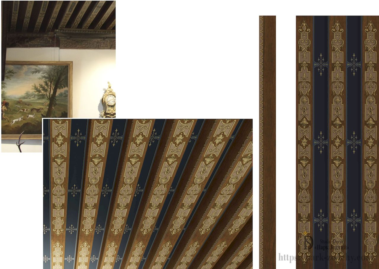 An unusual painted ceiling and wooden beams