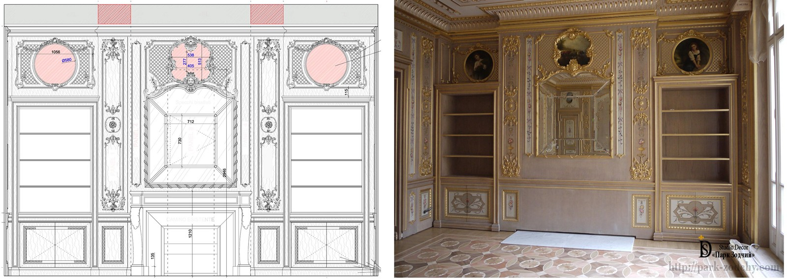 The design of the walls in boiserie photo