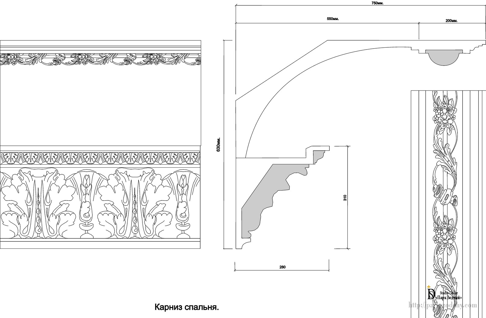 the cornice of plaster moldings