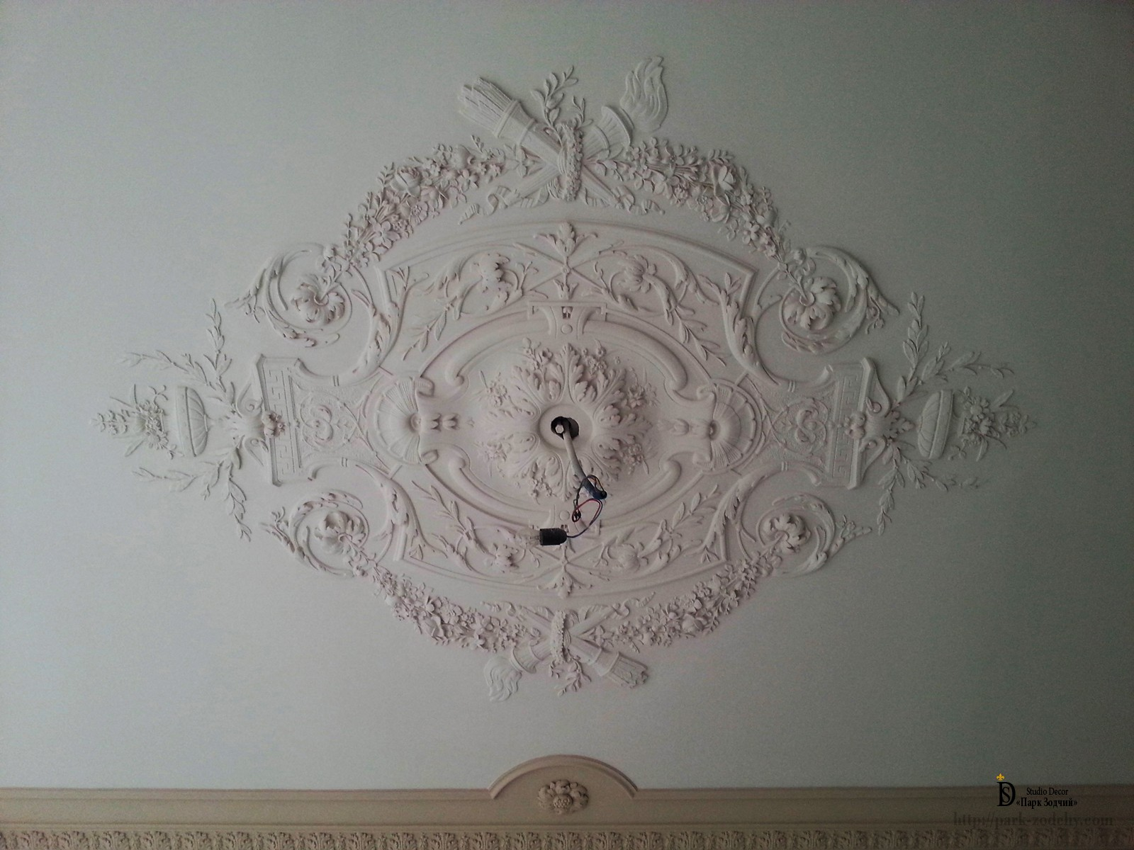 the modelled decor from plaster ceiling